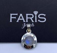 Round Sterling Silver 925 Moonstone Gemstone Pendant Designer Necklace