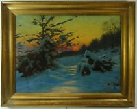 Janos Tornyai Ungarischer Maler Verschneite Winterland mit Person Öl signiert
