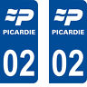 Département 02 sticker 2 autocollants style immatriculation AUTO PLAQUE Picardie
