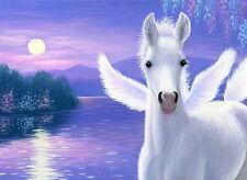 Pegasus foal horse evening lake moon fantasy limited edition aceo print art
