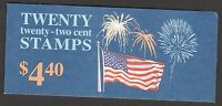 US BK156 2276a Flag with Fireworks 22c booklet 20 MNH 1987