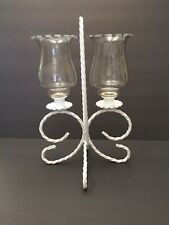 White Dual Twisted Rope Candelabra / Etched Votive Cups Homco Home Interior