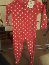 Pink Fleece Pajama Polka Dot Monkey Child Of Mine 4t Footed Pajama