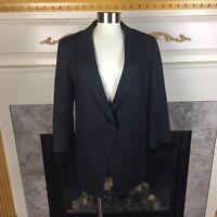 ELIZABETH + JAMES Womens 6 Black Hook Latch Asymmetric Cotton Blazer Jacket