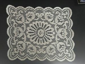 Lot of 2 Placemats Doilies With Floral Lace Design, Soft Scalloped Edges