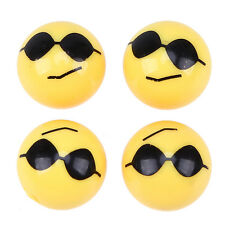 Car Wheel Stems Air Caps Dust Covers Ball shape Yellow Smile Face Wear Glasses