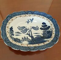 """Booths REAL OLD WILLOW Blue and White Oval Vegetable Serving Dish A8025 8.5"""""""