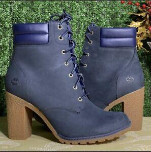 💖Timberland Women's Tillston 6 Inch Navy Nubuck Leather Boots Size: 9.5