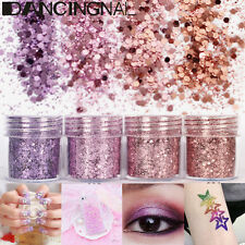 4Pot/Set Flake Chunky Pink Purple Glitter Powder Nail Eyeshadow Tattoo Body Face