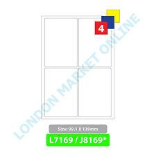 A4 Address Labels Self Adhesive Sticky Sheets Inkjet Copier Laser Printer Peel