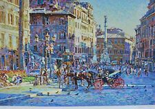 "EUGENE KASPIN ""PIAZZA IN SUNNY ROME"" Hand Signed Limited Edition Large Serigraph"