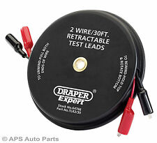 Draper 64766 Expert 30ft 2 Wire Retractable Test Leads Circuits Clips Mechanic