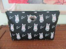 Betsey Johnson Makeup Case,Bag,Nwt Black, cute kitten print, pink wristlet strap