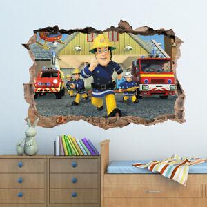 3D Fireman Sam Hole In Wall Sticker Art Decal Decor Kids Bedroom Decoration