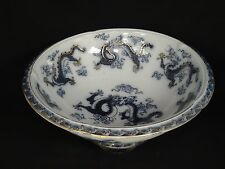 """Large Antique Continental Blue & White Footed Dragon Porcelain Bowl 14.5"""""""
