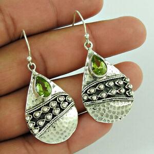 HANDMADE 925 Sterling Silver Jewelry Pear Shape Peridot Gemstone Earrings C33