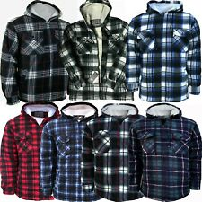 Mens Padded Shirt Fur Fleece Lined Hoodie Jacket Hooded Work Lumberjack Sherpa