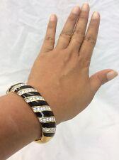 vtg. signed swan swarovski black enamel Gold Tone Bangle Bracelet