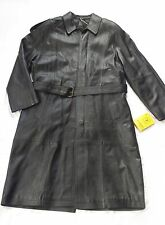 MEN GENUINE LAMB LEATHER TRENCH COAT FULLY LINED + REMOVABLE LINING SIZE M,BLACK