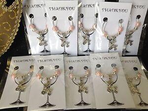 Wine Glass Charm x10 Baby Pram/Pusher Pink; Bonbonniere, Thank You, Baby Shower