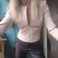 Scanlan Theodore Lambskin Stretch Leather Jacket Sz 8 RRP $950
