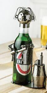 GILDE Flaschenhalter Bierflasche Halter Kellner Metall vernickelt 65050