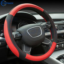 38cm Universal Black+Red PU Leather Car Steering Wheel Cover Protector Non-slip