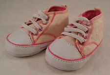Carters Size 3 mo Girls Casual Pink White Canvas High Top Tennis Shoes Slip on