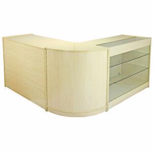 Retail Counter Maple Shop Display Storage Cabinet Lockable Glass Showcase Saturn