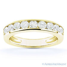 Round Cut Moissanite 14k Yellow Gold Channel-Set Anniversary Ring Wedding Band