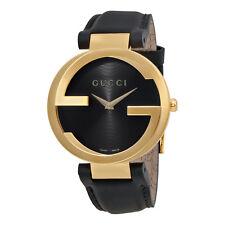 Gucci Interlocking Black Dial Leather Unisex Watch YA133326