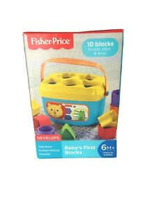 Fisher-Price Baby's First Blocks Shapes Sizes Sorter Plastic w/ Storage Bucket