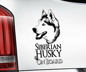 Siberian Husky Sticker, Sled Dog Car Stickers Window Bumper Decal Gift -V01BLK