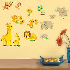 Adesivo Parete Design Elefanti Leoni Zoo Animale Wall Sticker Casa Stanza Studio