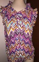 Ladies A.N.A. Blouse Shirt Size Petite Small PS Career Cruise Chevron Ruffles