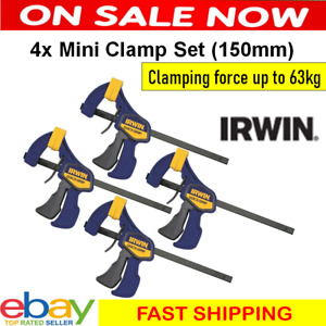 Irwin 4 Piece Mini Clamp Set 150mm 63kgs Force Clamping Pressure Workshop Clampe