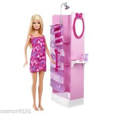 Barbie Glam Shower Beauty Bathroom Playset With Doll & Vanity New By Mattel