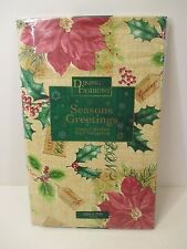 "CHRISTMAS HOLIDAY Red Poinsettia Kitchen Party Vinyl Tablecloth~Oblong 52"" X 70"""