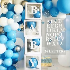 4pcs Baby Shower Transparent Boxes Birthday Party Backdrop Decor with 30 Letters
