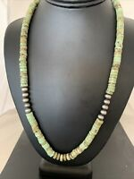 """Green Turquoise Heishi Sterling Silver Necklace Navajo Pearls Stab 8mm 20"""" 969"""