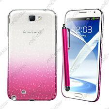 Housse Etui Coque Rigide Gouttelettes Rose Samsung Galaxy Note 2 N7100 + Stylet