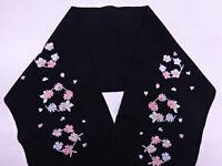 半襟 Han Eri - Double col pour juban - Noir Fleurs - Import direct Japon 028