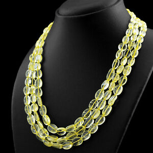 BEAUTIFUL 448.00 CTS NATURAL RICH YELLOW CITRINE 3 LINE OVAL BEADS NECKLACE (DG)