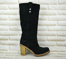 UGG Josie Womens Black Leather Mid-Calf Heeled Boots Shoes Size 8 UK 40.5 EU