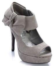Anne Michelle Essence Gray Peep Toe Bow Bootie Women Sz 7.5 M Platform Stiletto