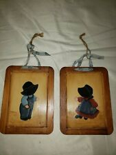 Hand Painted Portugal 2 Sided Framed Slate 2ea. Vintage Slatboard Boy, Girl