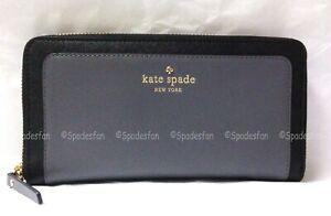 Kate Spade PWRU3797 Bedford Square Sweets Zip Wallet SHADOW STONE Black Grey NWT