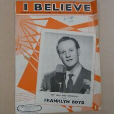 song sheet I BELIEVE Franklyn Bloyd 1952