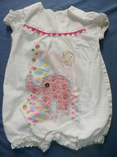Misha Lulu Romper Girl 6 Months Elephant Pink Floral Bubble Baby Summer