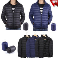 US Men's Packable Down Jacket Ultralight Stand Collar Coat Winter Outdoor Coat